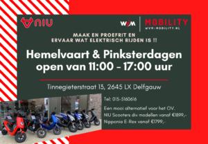 Hemelvaartsdag en beide Pinsterdagen is WvM-Mobility open